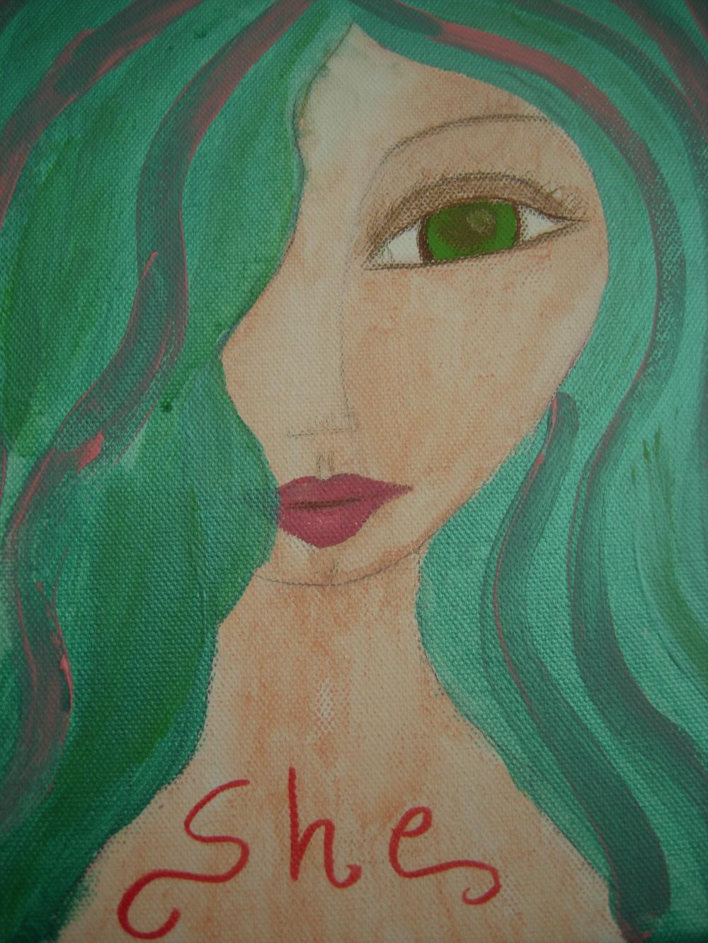 She...- Original Painting with acrylics and watercolours on canvas
