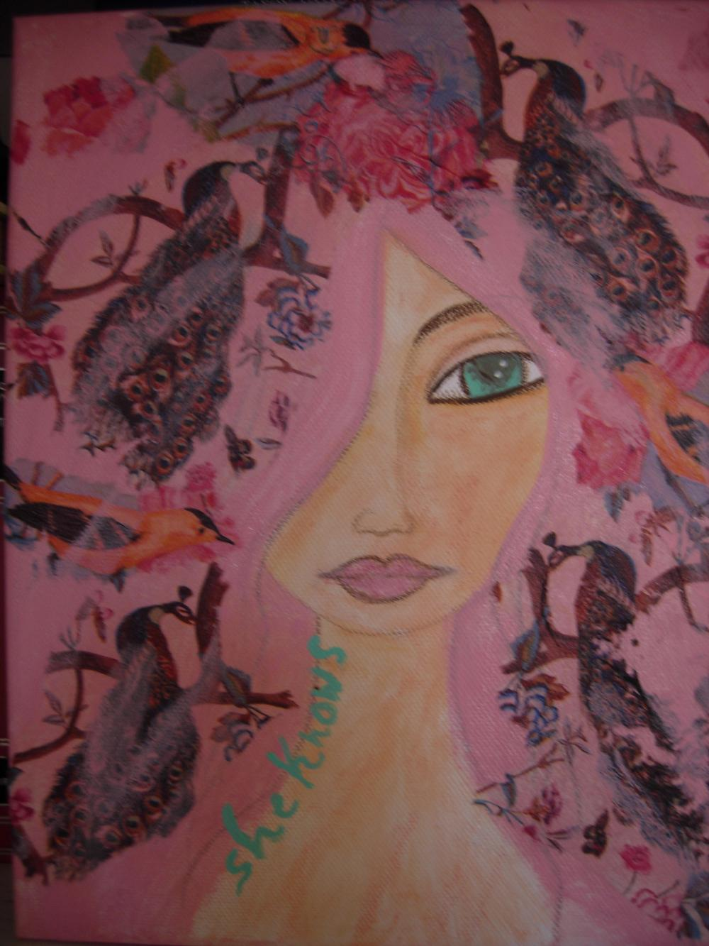 She Knows....-Original mixed media painting and collage on canvas 25x30cm by a Pink Dreamer