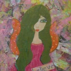 Believe - Original mixed media painting on wood