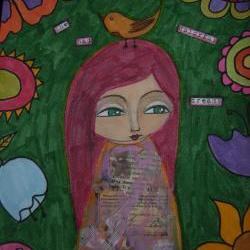 She had colorful dreams - Original mixed media painting and collage on watercolor paper by a pink dreamer