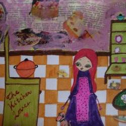 The Kitchen Lover - Mixed media painting and collage on watercolor paper by A Pink Dreamer